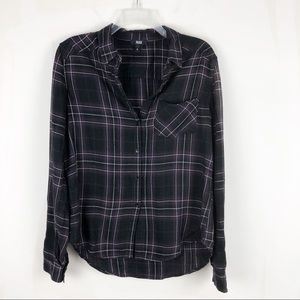 Paige Plaid Velvet Plum Button Up Top